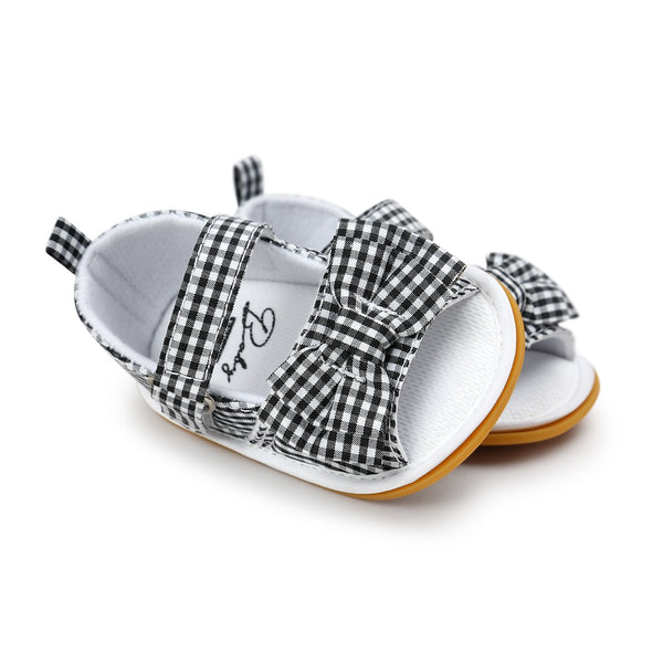 Summer Black Stripped Princess Girls Baby Bow Knot Stick Bow Striped Sandals - JEN'S KIDS BOUTIQUE