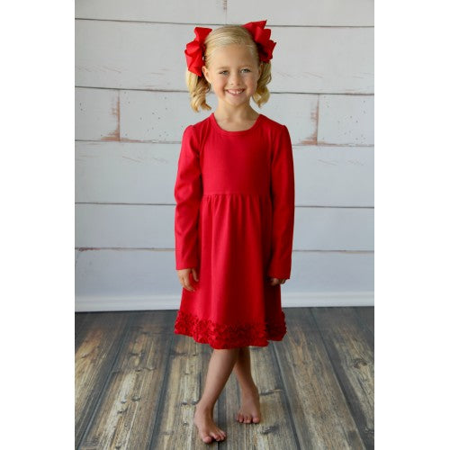 Perfect  Christmas Ruffle Red Dress CH - JEN'S KIDS BOUTIQUE