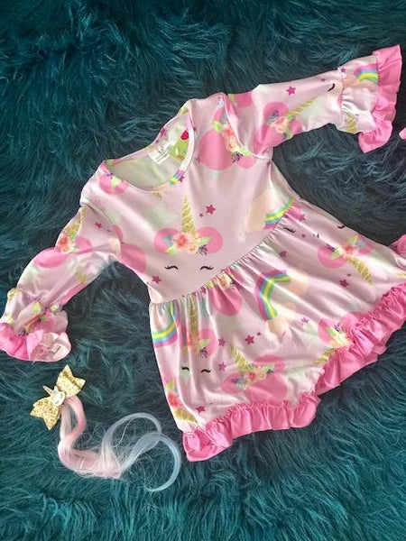 New Fall Unicorn & Rainbow Ruffle Dress - JEN'S KIDS BOUTIQUE
