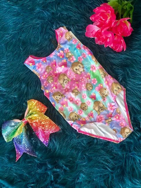 New Back To School Monkey Dance & Gymnastics Leotard - JEN'S KIDS BOUTIQUE