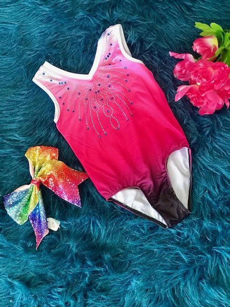 New Back To School Pink Sparkle Dance & Gymnastics Leotard. - JEN'S KIDS BOUTIQUE