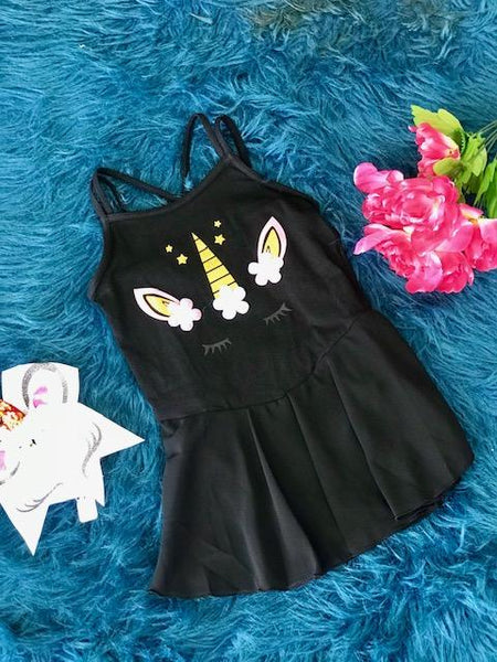 New Back To School Black Unicorn Tutu Dance & Gymnastics Leotard. - JEN'S KIDS BOUTIQUE