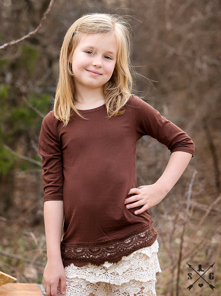 Southern Grace 2017 Fall Girls 3/4 Sleeve Shirt With Crochet Lace In Brown - JEN'S KIDS BOUTIQUE
