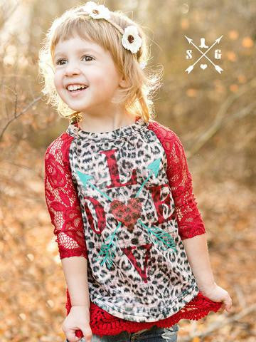 Southern Grace Cheetah Love Valentines Shirt - JEN'S KIDS BOUTIQUE