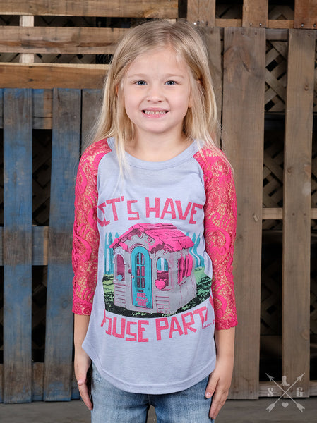 Southern Grace Spring Let's Have A House Party Lace Sleeve Shirt CL - JEN'S KIDS BOUTIQUE