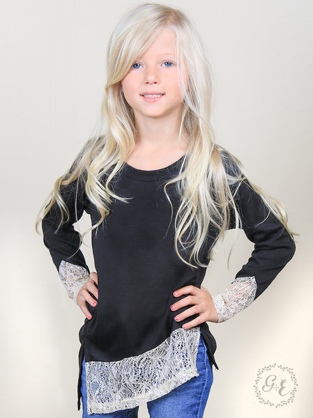 Southern Grace 2017 Fall Black Asymmetrical Tunic With Cream Shimmer Trim Accent - JEN'S KIDS BOUTIQUE