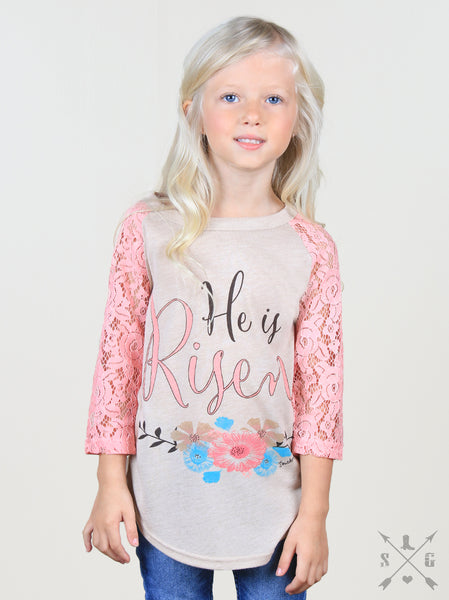 2018 Spring Easter Girl He is Risen Tan Raglan With Pink Lace Sleeves - JEN'S KIDS BOUTIQUE