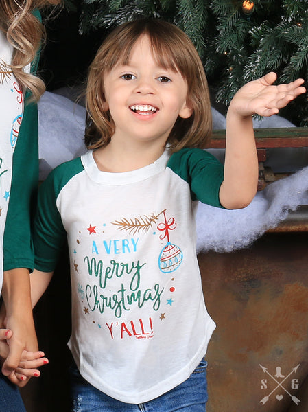 Southern Grace 2017 Christmas Girls A Very Merry Christmas Y'all Raglan With Forest Green Sleeves - JEN'S KIDS BOUTIQUE