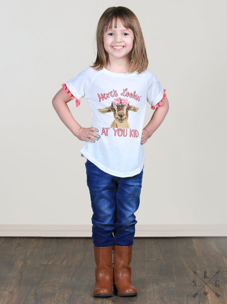 2019 Spring Easter Girl Heres Looking At You Kid Pom Tee - JEN'S KIDS BOUTIQUE