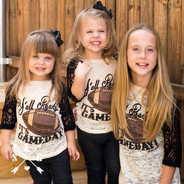 Southern Grace 2017 kids yall ready Its gameday on beige burnout - JEN'S KIDS BOUTIQUE