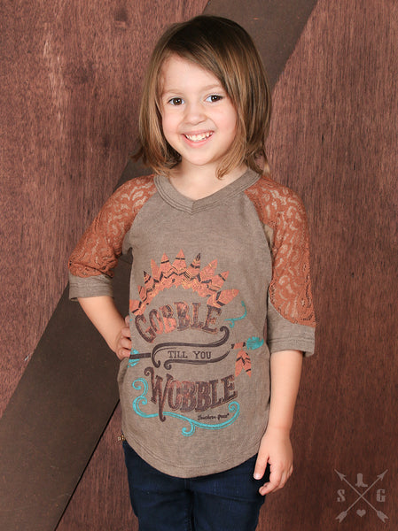 Southern Grace Gobble Till You Wobble 3/4 Sleeve With Orange Lace Kids Shirt - JEN'S KIDS BOUTIQUE