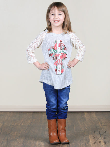 Spring Easter Girl He Restores my soul Tan Raglan With Pink Lace Sleeves - JEN'S KIDS BOUTIQUE
