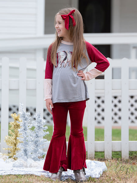 New Fall & Holiday Girls Ruby Velvet Flare Pants - JEN'S KIDS BOUTIQUE