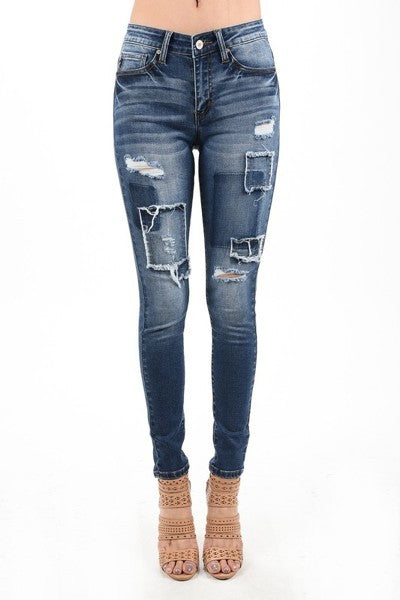 2019 KanCan Women's Basic Skinny Jeans With Patches - JEN'S KIDS BOUTIQUE