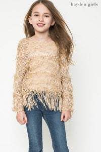 Hayden Fancy Fringe Sweater Biege - JEN'S KIDS BOUTIQUE