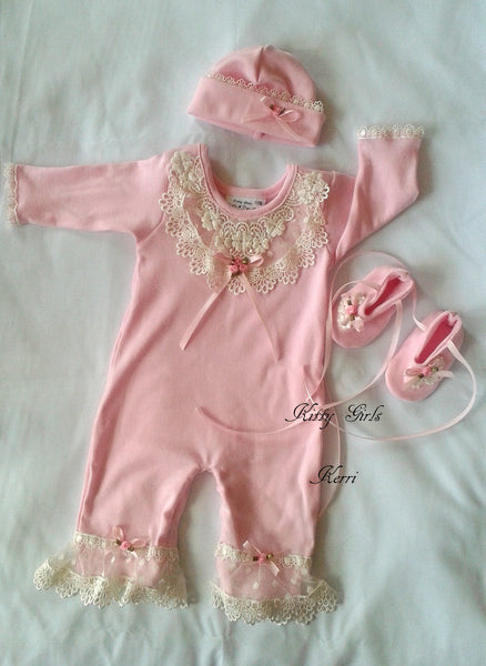 Kitty Girls Couture Pink Romper Set W/Hat and Booties - JEN'S KIDS BOUTIQUE