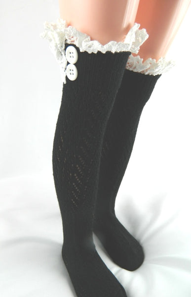 2018 Fall Long Lace Adorable Boot Socks Black - JEN'S KIDS BOUTIQUE