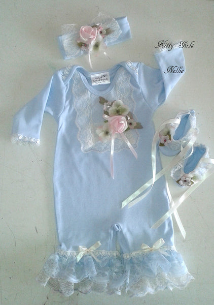 Kitty Girls Couture Blue Romper Set W/Headband and Booties - JEN'S KIDS BOUTIQUE