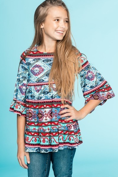 Spring & Summer Girls Print Tunic With Tiered Ruffle Sleeve - JEN'S KIDS BOUTIQUE