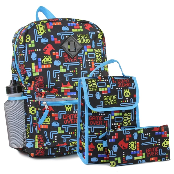 Confetti Adorable Fun Games Back Pack W/Lunch Kit & Pencil Case Combined