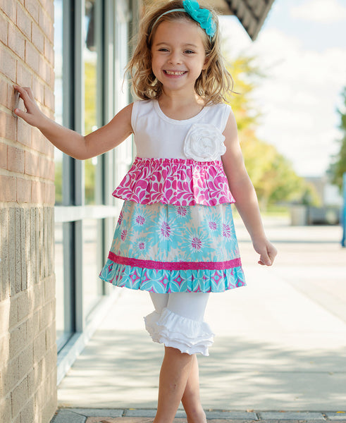 Ruffle Butts Summer White/Hot Pink Blue Capri Set CL - JEN'S KIDS BOUTIQUE