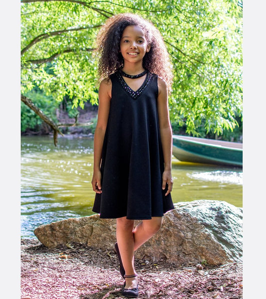 Elegant 2019 Pre Teen Sparkle Black V/Neck Dress - JEN'S KIDS BOUTIQUE
