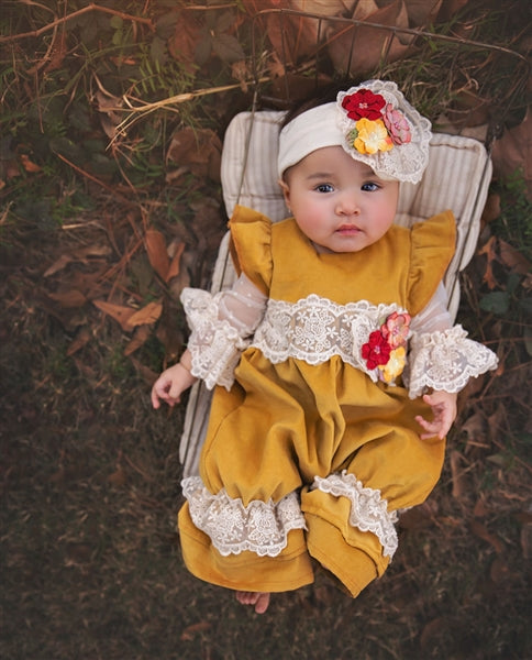 Fall Haute Baby Fields Of Gold Coverall. - JEN'S KIDS BOUTIQUE