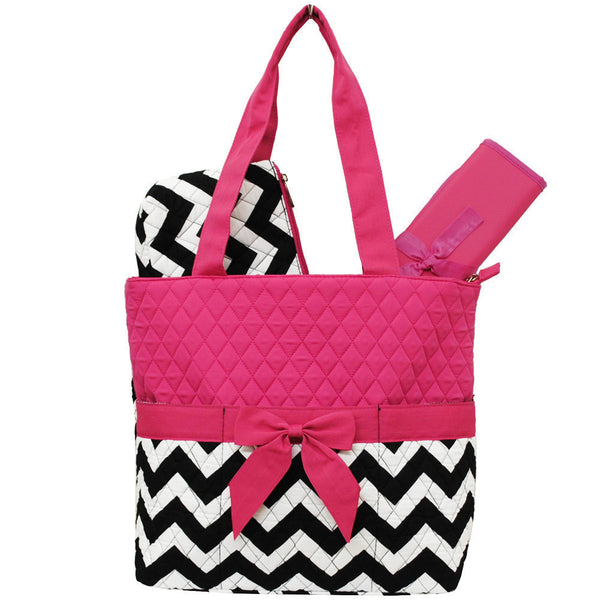 Princess Chevron Fun Print Quilted 3 Piece Diaper Bag - JEN'S KIDS BOUTIQUE