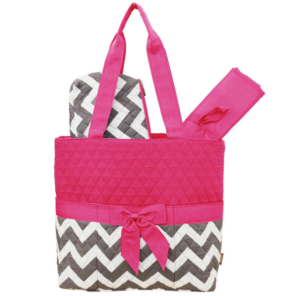 Princess Chevron Fun Print Quilted three piece Diaper Bag - JEN'S KIDS BOUTIQUE