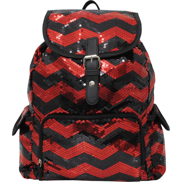 2019 Spirit Sequin Chevron Bling Large Backpack RED and Black - JEN'S KIDS BOUTIQUE