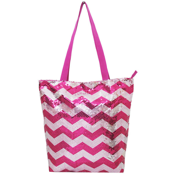 Spirit Sequin Hot Pink Chevron Tote Bag - JEN'S KIDS BOUTIQUE