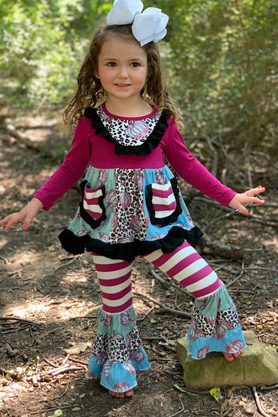 NEW FALL MULTI PRINTED FLARE TUNIC WITH CUTE BELL PANTS. - JEN'S KIDS BOUTIQUE