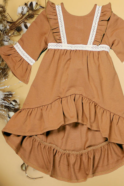 New Fall Stunning 3/4 Sleeves Hi-Lo Super Soft Cotton Dress - JEN'S KIDS BOUTIQUE