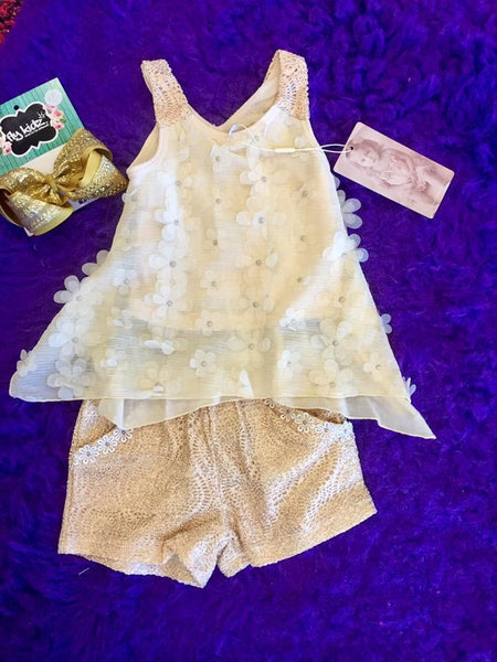 Baby Sara Gold Lace Shorts W/Flower Trim At Pockets - JEN'S KIDS BOUTIQUE