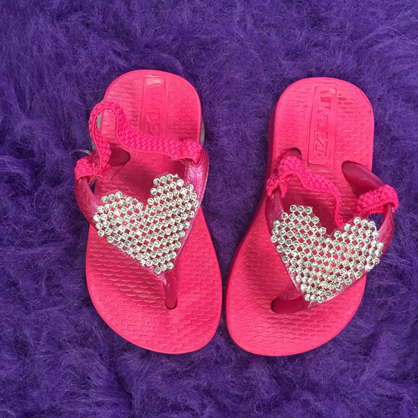 Planet Sea Infant Hot Pink Heart Flip Flops with Straps - JEN'S KIDS BOUTIQUE