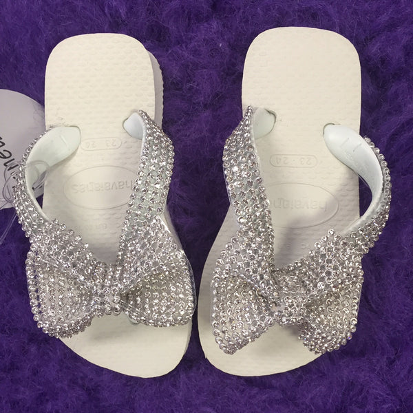 Planet Sea White Clear Crystal Bow Flip Flops - JEN'S KIDS BOUTIQUE