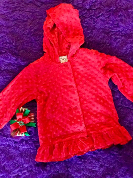 Three Sisters 2017 Fall Red Minky Hooded Jacket - JEN'S KIDS BOUTIQUE