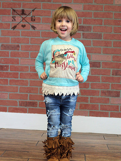 Southern Grace Aqua Longsleeve Have A Holly Golly Christmas Ch - JEN'S KIDS BOUTIQUE