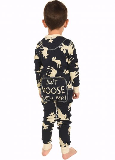 Lazy Z 2017 Blue Classic Moose Kids Flapjack Pajamas