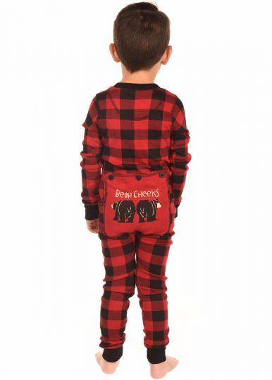 Lazy Z 2017 Bear Cheeks Plaid Kids Flapjack Pajamas