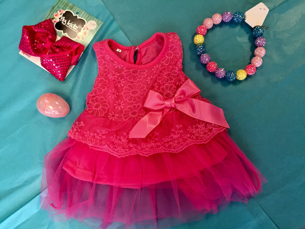 Princess Hot Pink Infant Sleeveless Dress - JEN'S KIDS BOUTIQUE