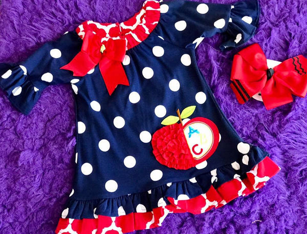 Rare Editions Girls Navy Blue / White Dot Back to School Dress with Red Apple - JEN'S KIDS BOUTIQUE