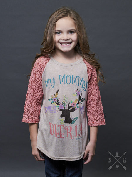 Southern Grace My Mommy Loves Me Deerly Reglan With Pink Lace Sleeves - JEN'S KIDS BOUTIQUE