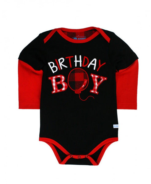 Rugged Butts Boys Black/Red 1st Birthday Bodysuit - JEN'S KIDS BOUTIQUE
