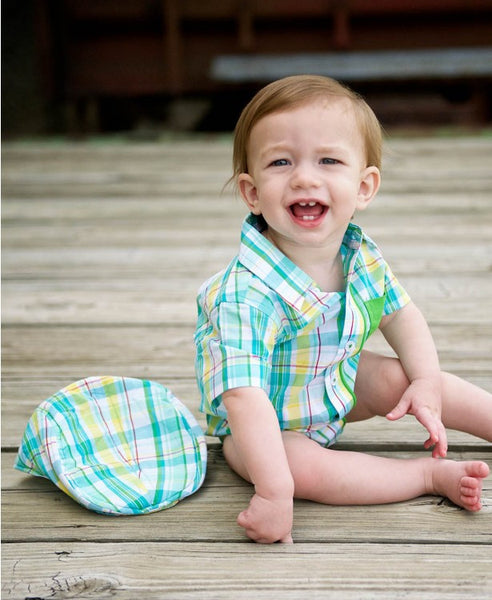 Rugged Butts Finn Boys Easter Plaid Bodysuit - JEN'S KIDS BOUTIQUE