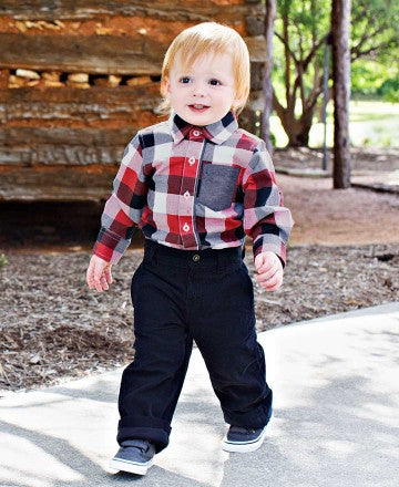 Rugged Butts Fall Christmas Boys Red, White, & Black Button Up Bodysuit - JEN'S KIDS BOUTIQUE