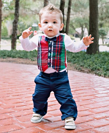 Rugged Butts Fall Christmas Boys Kennedy Plaid Vest Bodysuit CH - JEN'S KIDS BOUTIQUE