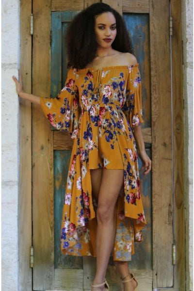 2018 Spring Women's Mustard Floral Maxi Romper With Surplus the New Misses Line Pre-Order - JEN'S KIDS BOUTIQUE