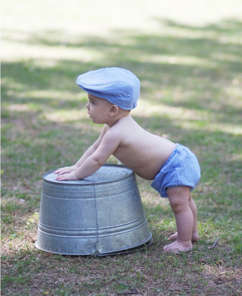 Rugged Butts Boys Blue Chambray Seersucker Drivers Cap - JEN'S KIDS BOUTIQUE