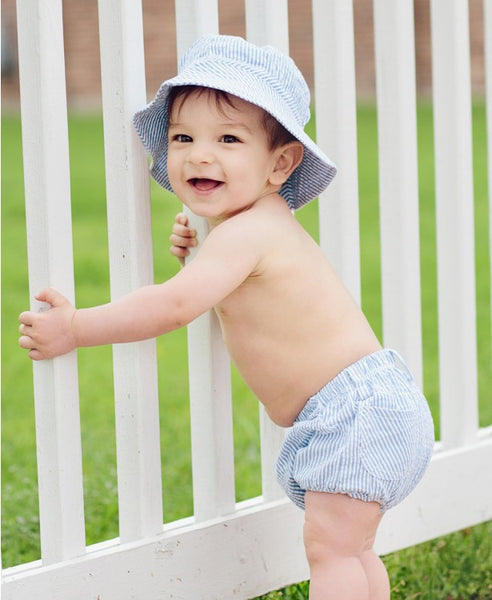 Rugged Butts Blue Boys Summer Seersucker Sunhat www.jenskidsboutique.net